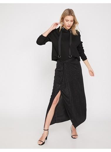Koton Yırtmaçlı Uzun Etek Siyah